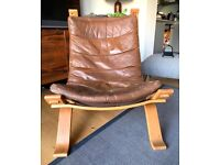 Danish brown leather recliner
