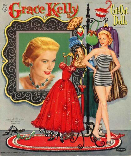 VINTAGE UNCUT 1956 GRACE KELLY PAPER DOLLS HD~LASER ORG SZ REPRODUCTION~LO PR