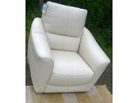 Ex-display Cream Leather Arm Chair with Chrome feet