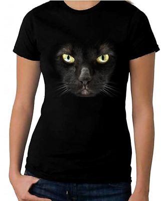 BLACK CAT WOMEN'S HALLOWEEN T-SHIRT - Fancy Dress Trick Or Treat Costume Witch](Halloween Black Cat Costume)