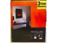 EBONY BLACK LED REMOTE CONTROL WALL HUNG ELECTRIC FIRE. NEW IN BOX