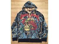 """Brand new authentic Christian Audigier men's luxury """"Rose Skull"""" designer hoodie, size Large"""