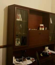 Mahogany book shelf and wall unit wall frame