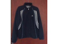 Black Adidas Jacket with Navy Blue Lines for £10.00
