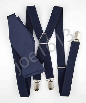 Midnight Blue Self Bow Tie Dark Blue Suspender 100cm X Back 4 Clip Mens SXS20