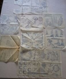 Vintage 1930's Crinoline Lady Traycloth/ Tablecloth Embroidery Transfers