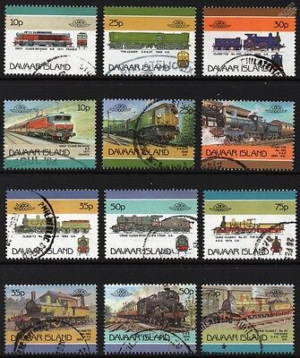 1986 DAVAAR ISLAND Set #1 Train Railway Stamps Loco 100 / Leaders of the World