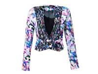 Fancyinn Ladies fitted blazer NEW Flower of Life Print Pattern Bright Neon Crop Jacket Sz S 8-10