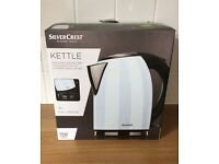1.8l 2400w BRAND NEW BOX White Silvercrest Kettle stainless steel lifts off base concealed element