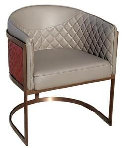 2 - Grey and Red Leather Occasional Lounge Chairs w/Rose Gold Frame, Brand new in box