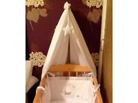Wooden beech swinging crib