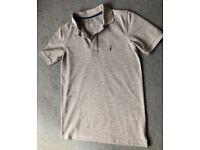 All Saints Mens Grey Ramskull Polo Shirt, Small, Worn Once