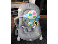 GREY CHICCO BABY BOUNCER ROCKER VIBRATING MUSIC FEATURE V. GOOD £15