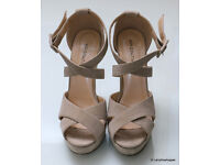 KOI COUTURE Beige Suede Effect Crossover Stiletto Sandals Size 5 (38) Brand New