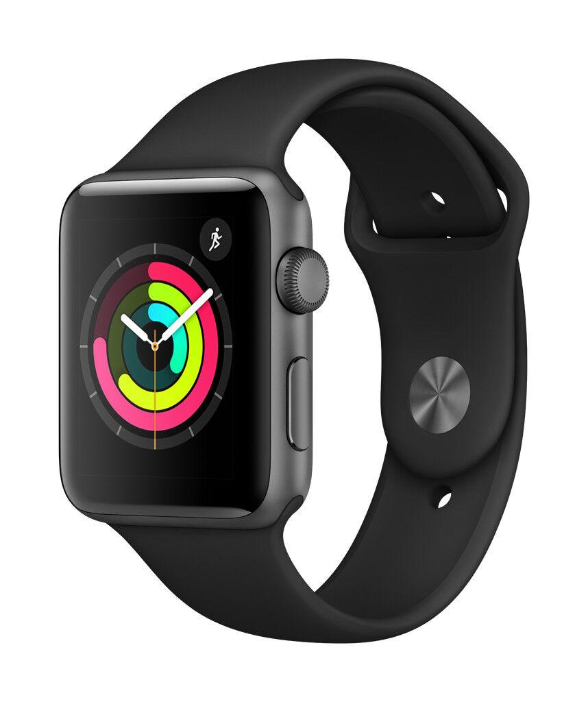 New Apple Watch Series 3 42mm Smartwatch GPS Aluminum Case Sport Band Black