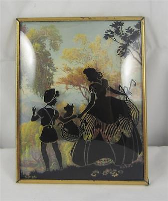 Vintage Silhouette Reverse Painted Bubble Glass Picture Dog in Basket - 4