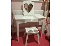 Great Little Trading Company Sweetheart Dressing Table & Stool Set, Pink Hearts