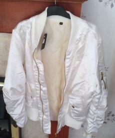 Ladies Cream Bomber Style Jacket - medium size