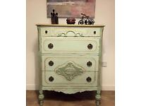 Unique solid fully refurbished chest of drawers in smooth green and gold effect finish