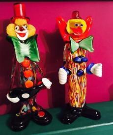 Couple of vintage murano clowns