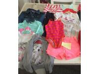 Girls clothes bundle age 4-5 years jeans, denim jacket, shorts, T-shirt's swimsuit tops vgc