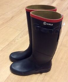 NEW UK 5 Aigle Chantebelle JP women's Wellington Rain Boots Navy (Eur 38) Wellies