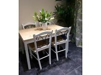Country style dining table and 4x chairs