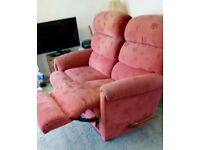 Retro 2 Seater Manual Recliner Sofa