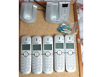 Set of 5 cordless Philips 445 phones and ans machines - used
