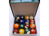 Complete Boxed Set of Powerglide Pool Table Balls 2 inch Diameter – Good Condition