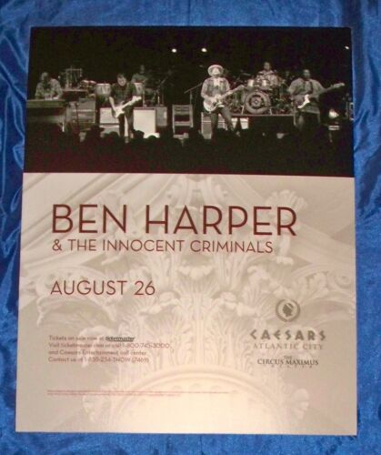 Ben Harper & The Innocent Criminals August 26, 2017 Atlantic City Sign Poster