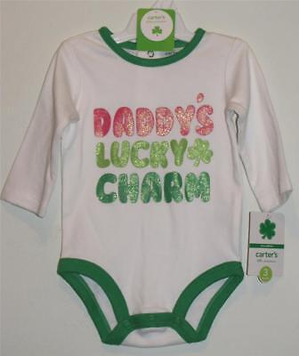 New Carter's Glittery Daddy's Lucky Charm SAINT PATRICK'S DAY One Piece, Sz 3M