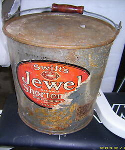 Vintage Shortening Steel Bucket with Lid
