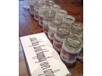 Wedding jam jar candle holders