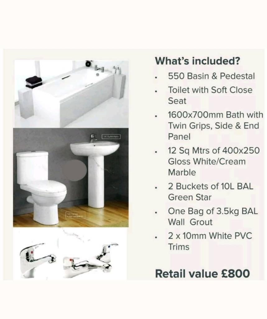 Bargain. Full Bathroom Suite inc tiles, taps even grout! Worth £800 ...