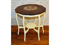 Vintage shabby chic pie crust antique table wooden hall kitchen