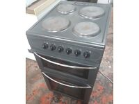 Belling Double Oven Electric Cooker in black, 50cm width