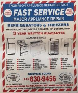 Fast Service for your Refrigerator or Appliance - GTA Thompson Appliance Service & Repair 416-630-9456