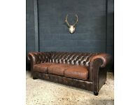 Vintage Brown Leather Chesterfield Sofa 2 Available (Delivery available)