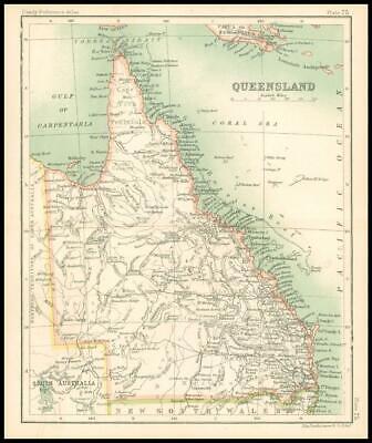 c1912 Map of QUEENSLAND Chart Regions Australia (BS79)