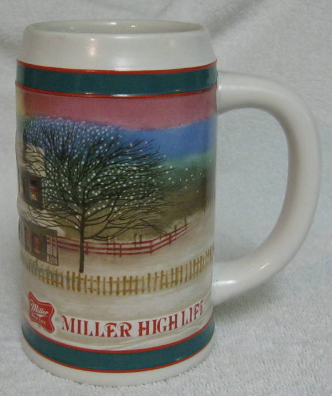 Beer Mug Stein Ceramic Miller High Life Holiday Traditions