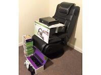 Xbox 360S (Glossy Black Edition with 250GB HDD) w/ Kinect, Steering Wheel, Gaming Chair and 32 Games