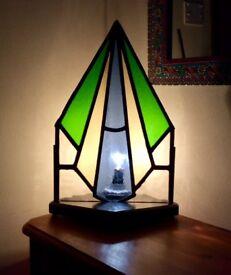 Unique Stained Glass Corner Lamp