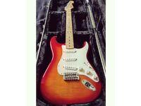 Fender STANDARD Stratocaster PLUS TOP + hard case + strap locks +strap+Elixir strings condition10/10