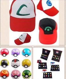 Pokemon items !!!!! Balls, hats and gym badges toys Pokemon go
