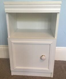 One White Bedside Cupboard with shelf above H24in/61cmW14.5in/37cmD13in/33cm