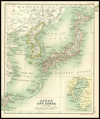 c1912 Map of JAPAN AND KOREA Chart Regions (BS48)