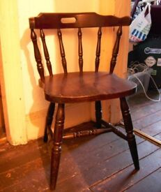 RESTAURANT CHAIR OR CAPTAIN'S CHAIR. ONE ONLY. SIX BACK SPINDLES, ROUNDED BACK REST. COMFORTABLE.