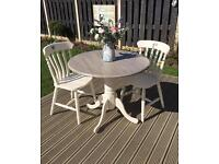 Drop leaf round pedestal table and 2 chairs chic not Shabby