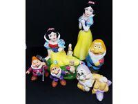 Snow White (x2) & assorted Dwarfs - porcelain & plastic
